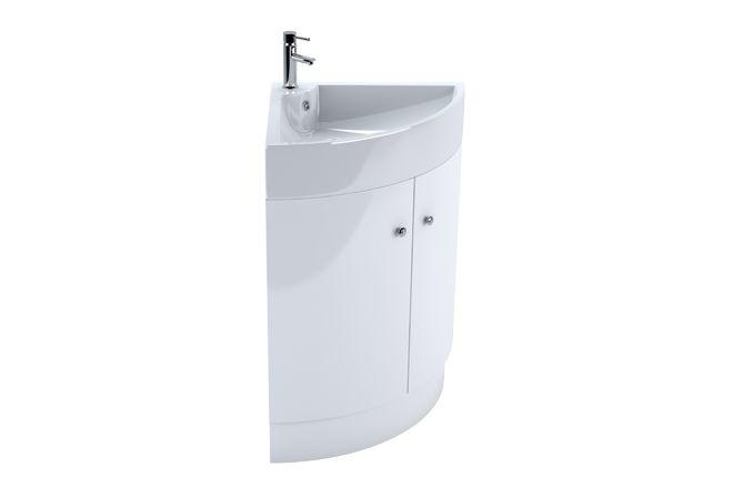 V50121165BA Bassi White Corner Basin Unit 470mm front_angle rectangle medium