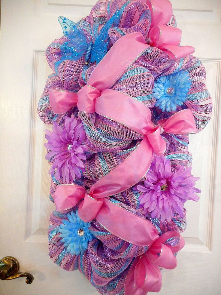 Summer Deco Mesh Swags, Everyday Deco Mesh Wreaths,  Pink Stripe Deco Mesh Wreath, Patio Deco Mesh Swag, Pink Bow Swags by MimisSparkledDesigns on Etsy