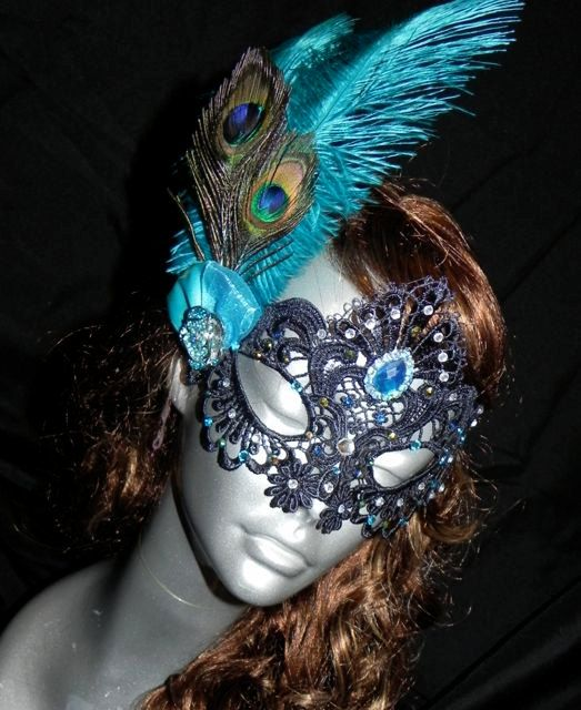 soft lace black masquerade mask with peacock feathers