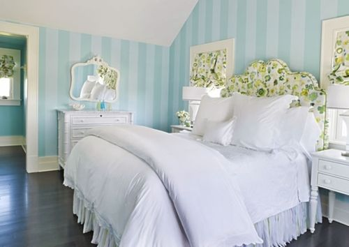 Stripes and white look clean together: Stripes Wall, Summer House, Blue Wall, White Beds, Teens Girls Rooms, Blue Stripes, Striped Walls, Bedrooms, Guest Rooms