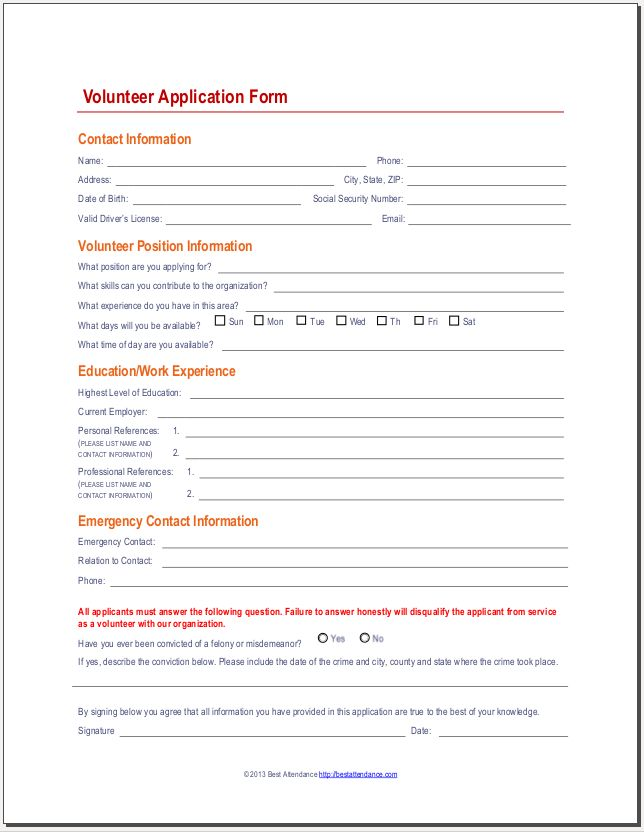 17 best Volunteer Forms images on Pinterest Website, Application - employee registration form