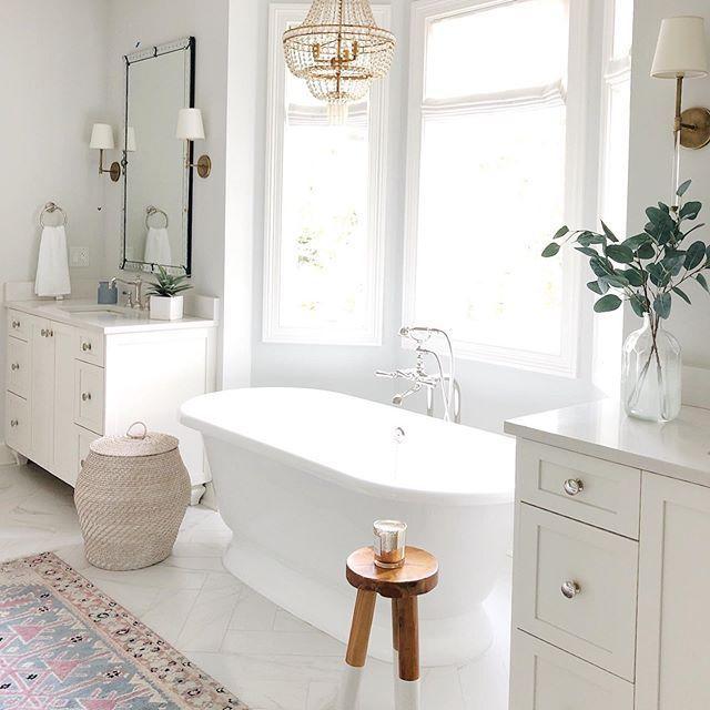 Andrea Life On Cedar Lane On Instagram Friday Night Vibes In 2020 White Master Bathroom Bathroom Freestanding Master Bathroom