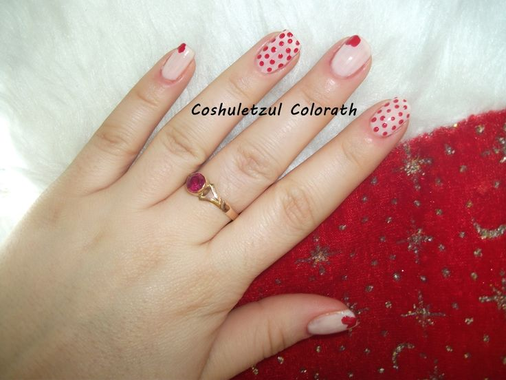valentine's day nails, heart, dots