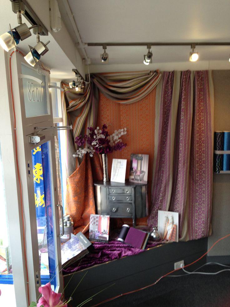 Window display store decorating window displays for Curtain display ideas