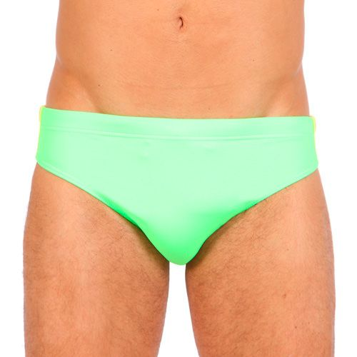 GREEN LYCRA LOW RISE SWIM BRIEF WITH LATERAL RAINBOW BANDS Red Lycra low rise swim brief featuring the three classic rainbow bands at lateral side. Elastic waistband with drawstring. Fully lined. Rubber Sundek logo stitched on back. COMPOSITION: 80% POLYAMIDE 20% ELASTANE. Lining: 100% POLYESTER.