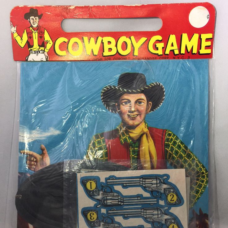 Vintage Child's Cowboy Game w/Guns Mask Cowboy Party Game Sealed in Original Plastic Package Paper Pin-the-Gun-on-the-Cowboy by ArtsAndOlds on Etsy