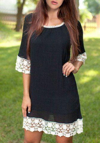 Stylish Scoop Neck 3/4 Sleeve Lace Spliced Loose Dress For Women