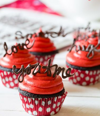 Chocolate Cupcakes with Red Velvet Frosting - FeedGoodFood.com