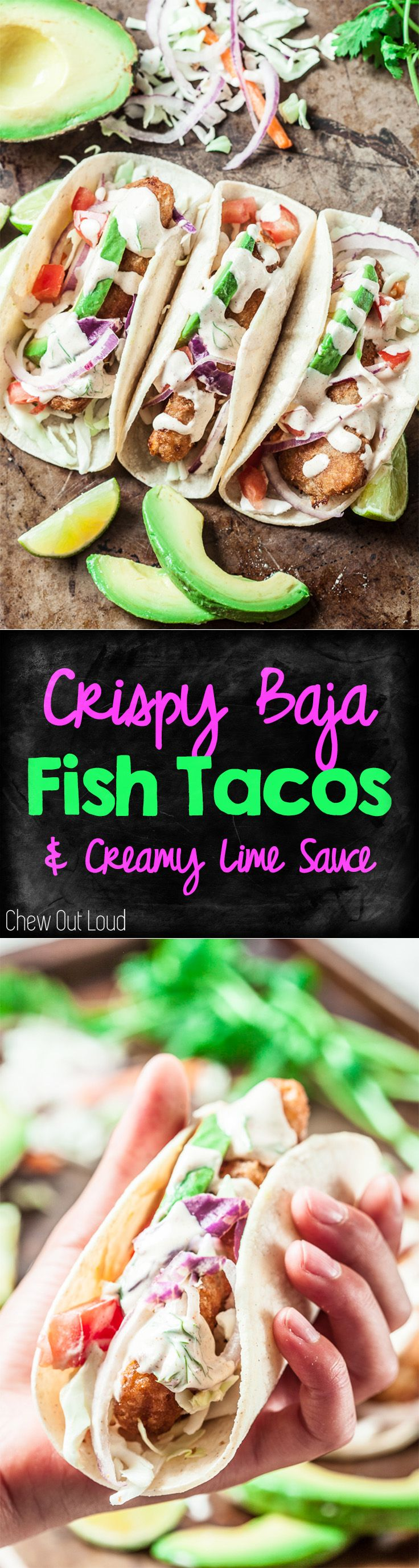 Crispy Baja Fish Tacos with Creamy Lime Sauce. Healthy. Delicious.  #fish #seafood #tacos #recipe #dinner #healthy #mexicanfood #chewoutloud www.chewoutloud.com