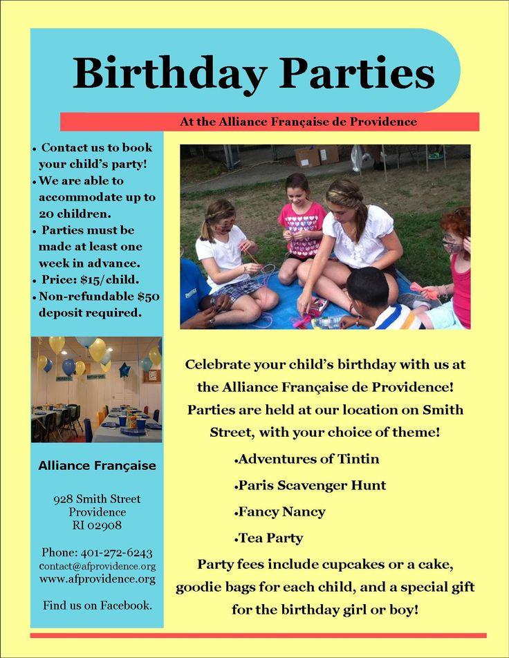 Celebrate your child's Birthday with us! Célèbrez l'anniversaire de votre enfant avec nous!