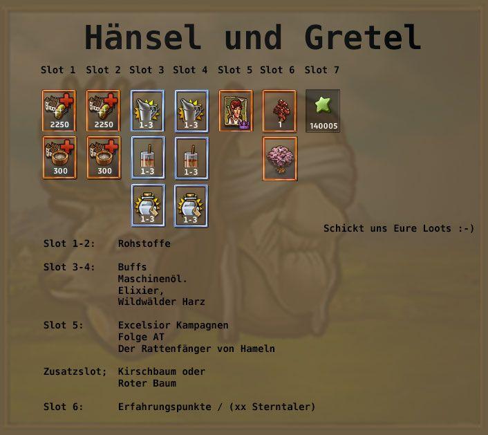 http://www.zwergenstadt.com/siedler/dso-unternehmungen-loots.php Hänsel und Gretel DSO Excelsior AT Belohnung