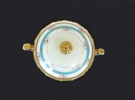 Antique Nippon Bowl With Moriage Beading Serving Bowl Vanity Sopeira Porcelana