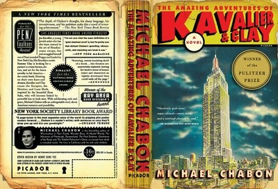 """The Amazing Adventures of Kavalier and Clay"" by Michael Chabon, Designed by Henry Sene Yee. The cover looks like an old beat-up comic book, and the back typography is just amazing."