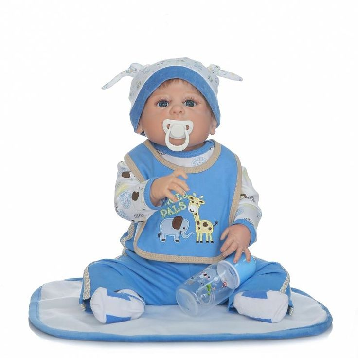 104.75$  Buy here - Vivid 23'' Full Silicone Vinyl Reborn Baby Dolls Real life Boy Baby Doll Dressed Blue Cartoon Cloth Bathe Children Birthday Gift  #magazineonlinebeautiful