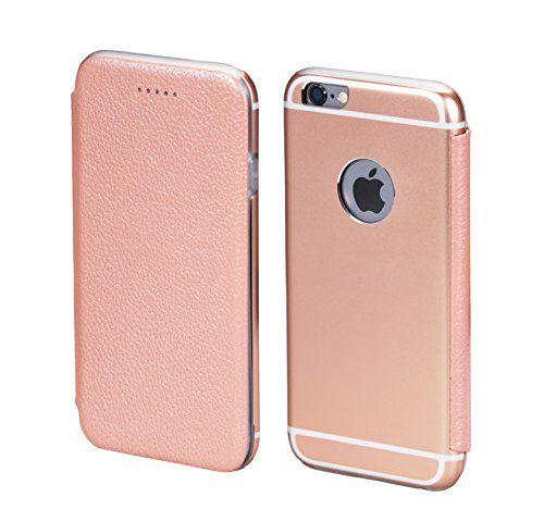 PhoneStar Premium Apple Echtleder Schutzhülle. Aluminium Metall Rückseite mit schützendem Silikon Inlay in rosé.