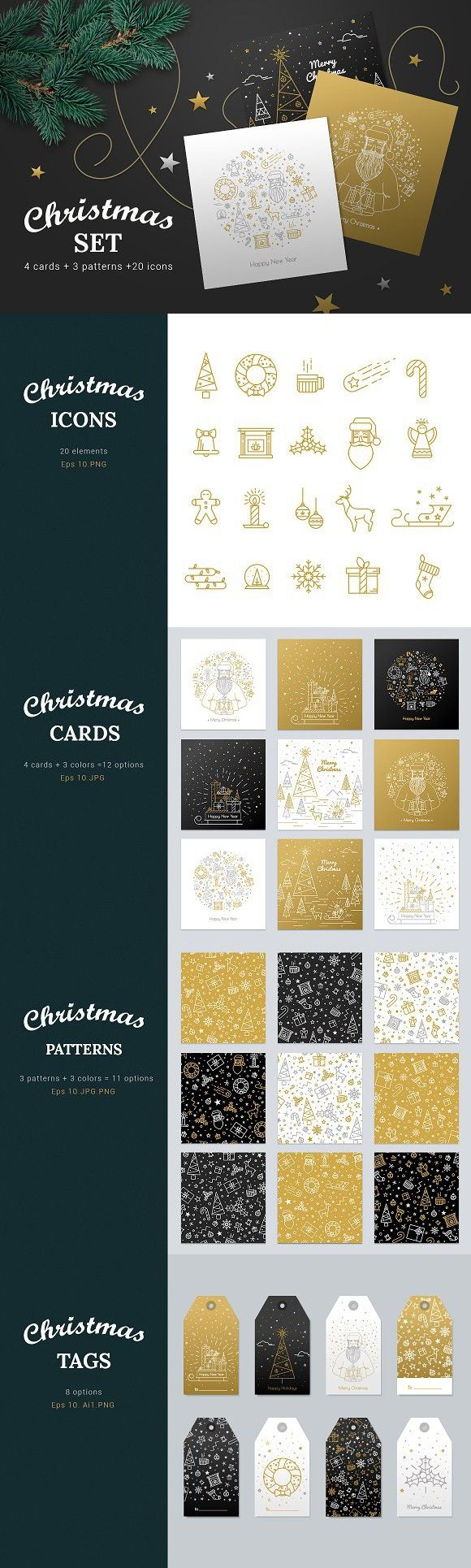 Gold line Christmas set. Gift Voucher Design Templates. $15.00