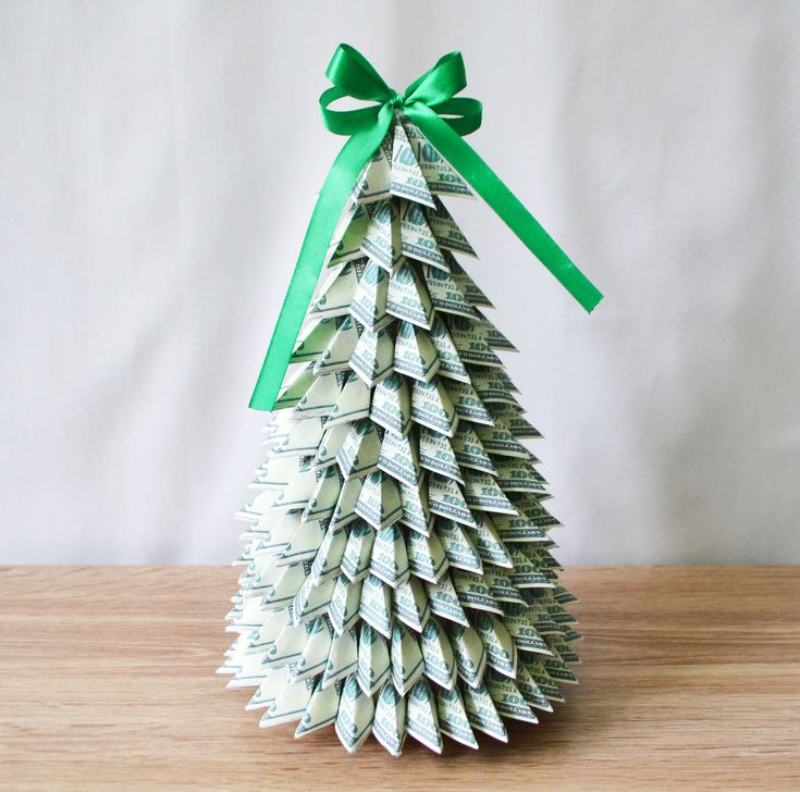 Dollar Bill Origami Christmas Tree: Money Dollar Tree Topiary Green Money Gift Home Decoration