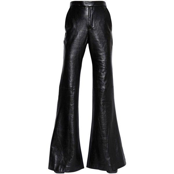 ELLERY Flared Nappa Leather & Wool Pants ($2,159) ❤ liked on Polyvore featuring pants, black, flare pants, zipper pants, woolen pants, flare trousers y zip pants