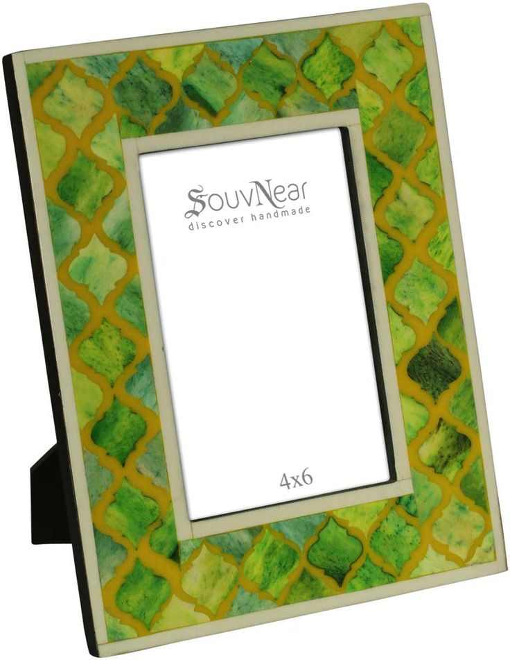 Bulk Wholesale Green Picture / Photo Frame in Wood and Bone Inlay – 4x6 Handcrafted Picture Stand in Moroccan Pattern – Home Décor Accessories / Gifts from India