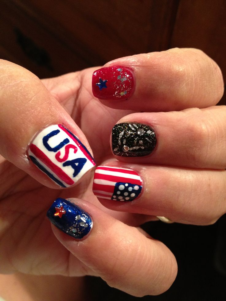 fourth of july nail art for toes