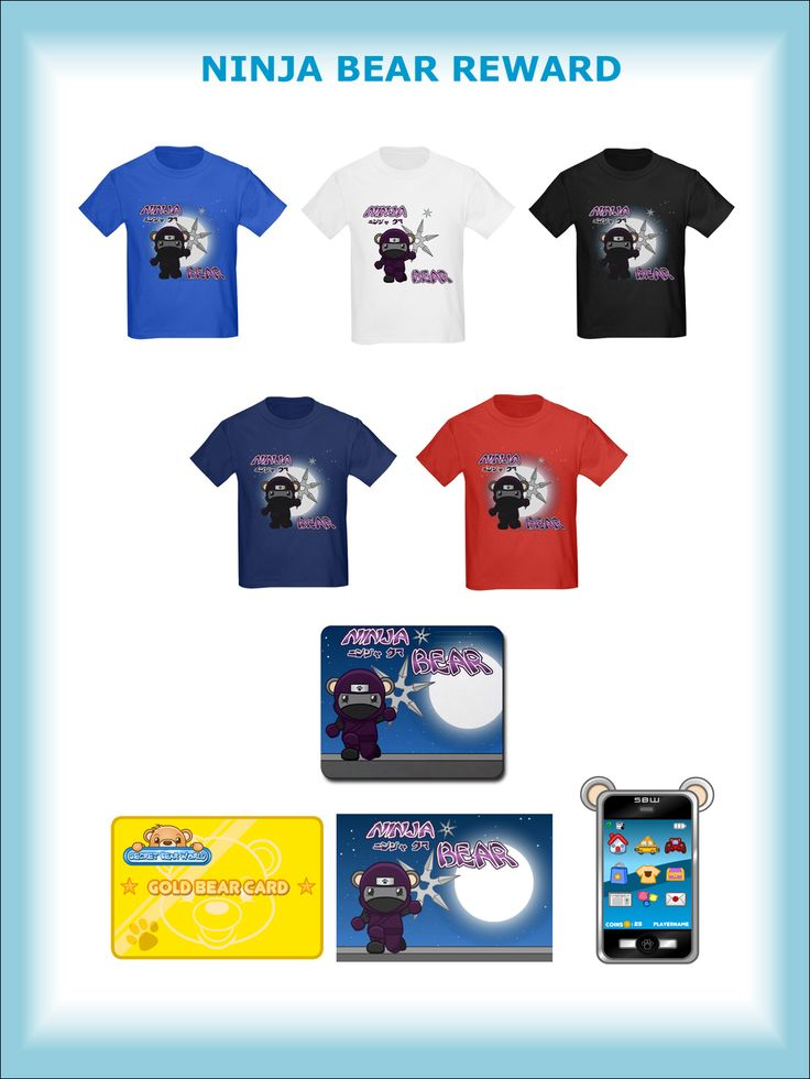 NINJA BEAR REWARD - Everybody wants to be a Ninja Bear! Wear this very cool Ninja Bear T-shirt and show your love for Secret Bear World plus the RACING BEAR REWARD! Choice of 5 T-shirt colors.