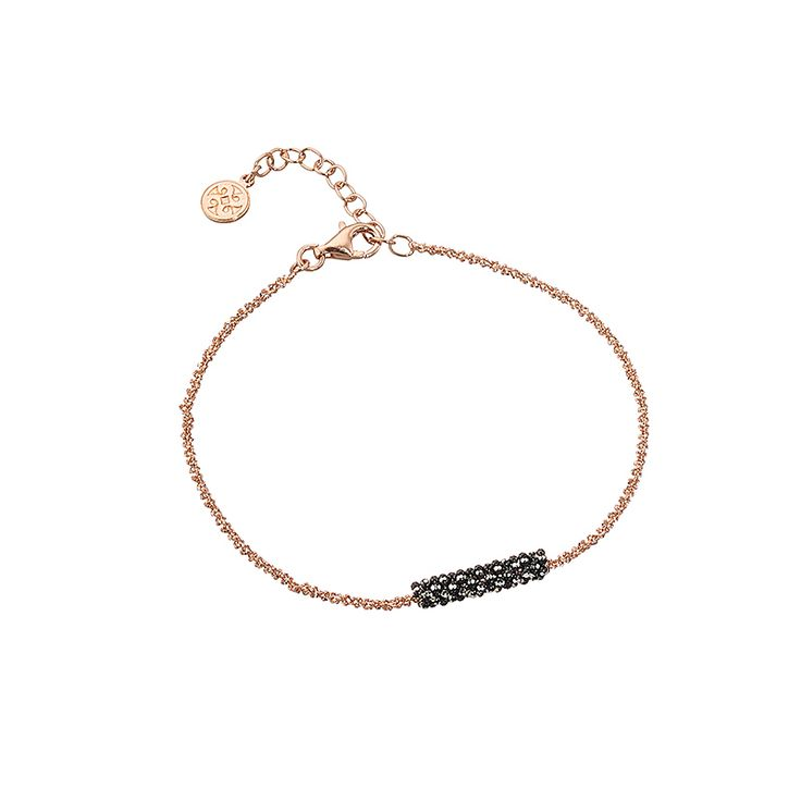 Bracelet OXETTE, in geometrical shape, made of silver 925 in rose gold and ruthenium plating. A modern accessory which can accompany all your outfits.