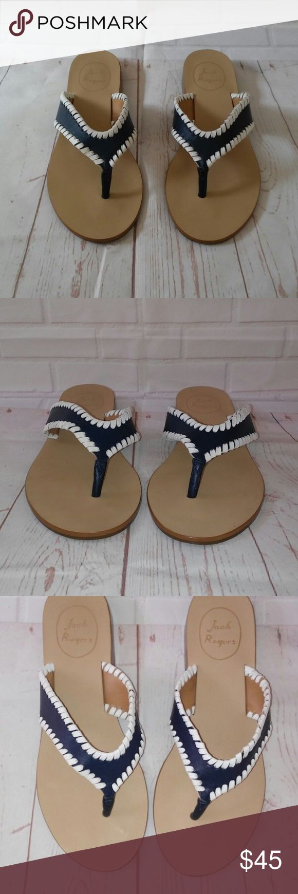 """Jack Rogers Womens 7 Blue and White Thong Sandals Jack Rogers Women's size 7 Blue and white sandals with t strap thong. Heel is 1/2"""". New without box and original MSRP $99 on bottom as pictured. Jack Rogers Shoes Sandals"""
