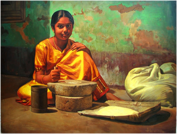 oil painting - oil on canvas - artist ilayaraja - indian women -