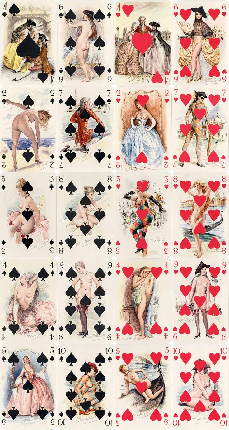 Mémoires de Casanova artistic and lightly risqué playing cards with paintings by Paul-Émile Bécat, published by Éditions Philibert, Paris, c.1960