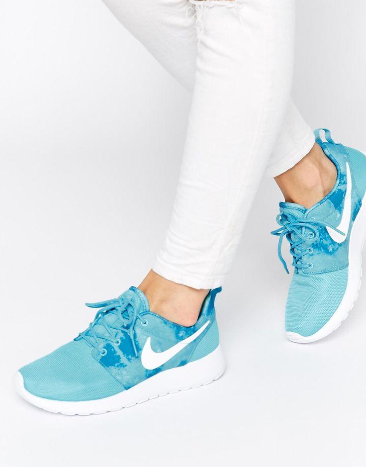 nike roshe run blue print effect trainers