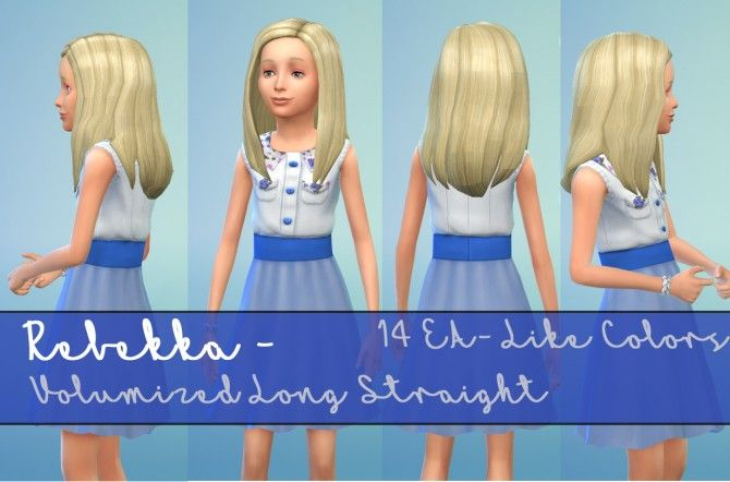 Rebekka EA's Volumized Straight Hair for Girls by Kubrick at Mod The Sims via Sims 4 Updates