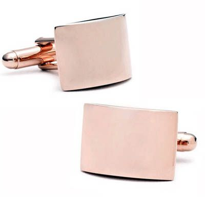 Curved Rose Gold Cufflinks - perfect for engraving a special something as a gift to the groom from his bride