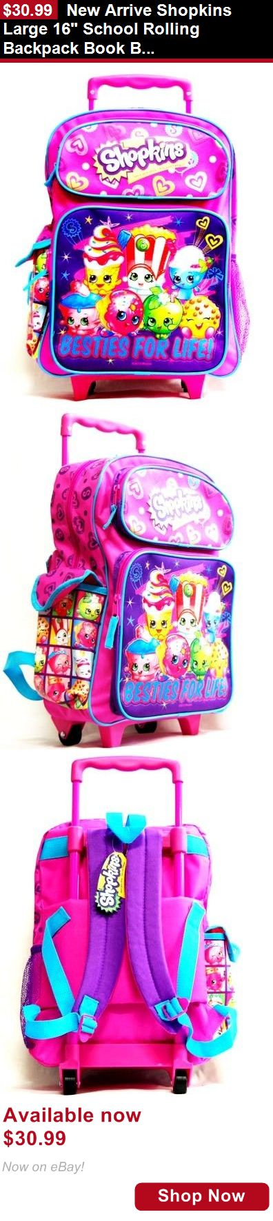 Children girls clothing shoes and accessories: New Arrive Shopkins Large 16 School Rolling Backpack Book Bag-Purple BUY IT NOW ONLY: $30.99