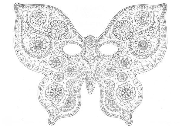 masque de papillon a colorier