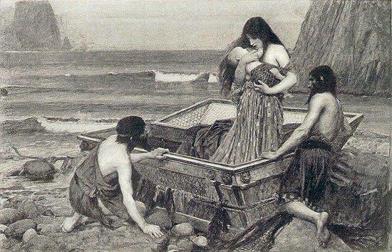 Δανάη / Η Δανάη με τον Περσέα φθάνουν στη Σέριφο John William Waterhouse (1892)