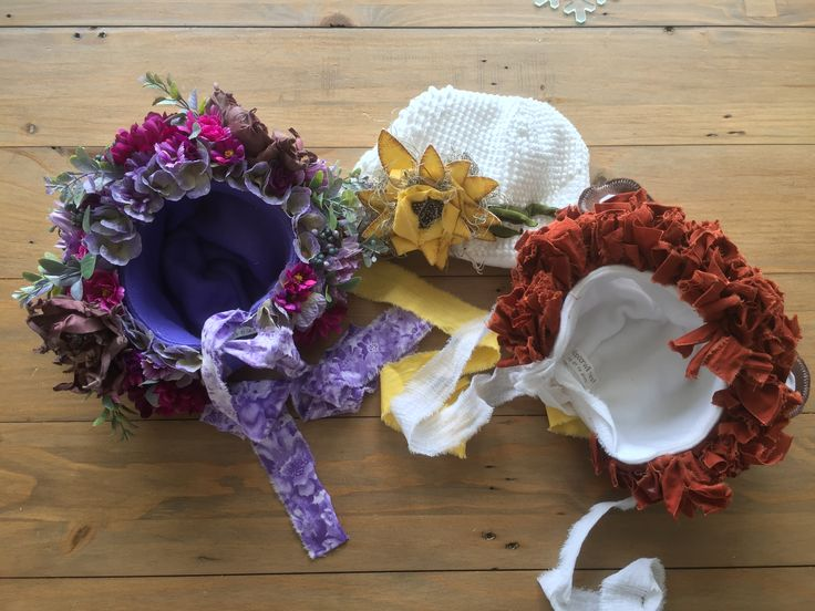 These gorgeous bonnets have just arrived. Sitters sized lion, purple floral and vintage sunflower.