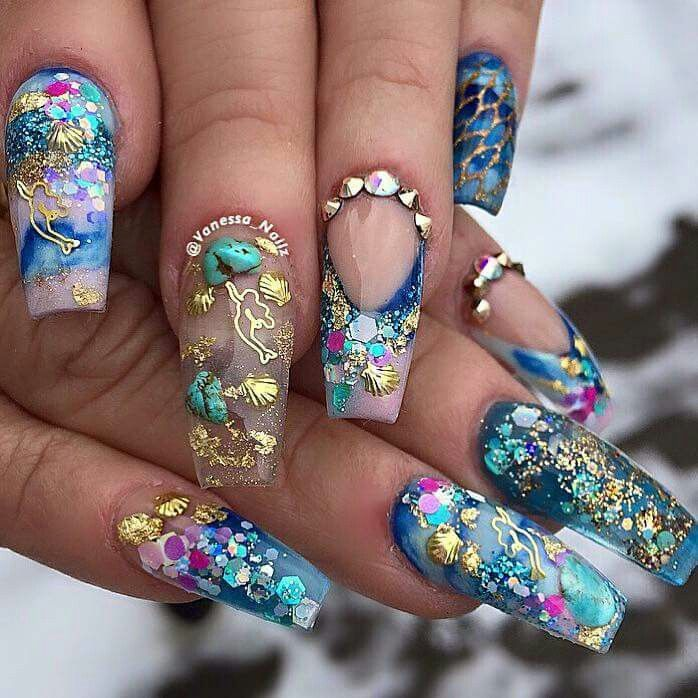 Mermaid Nail Art Acrylic Nails: 399 Best Images About Nails On Pinterest