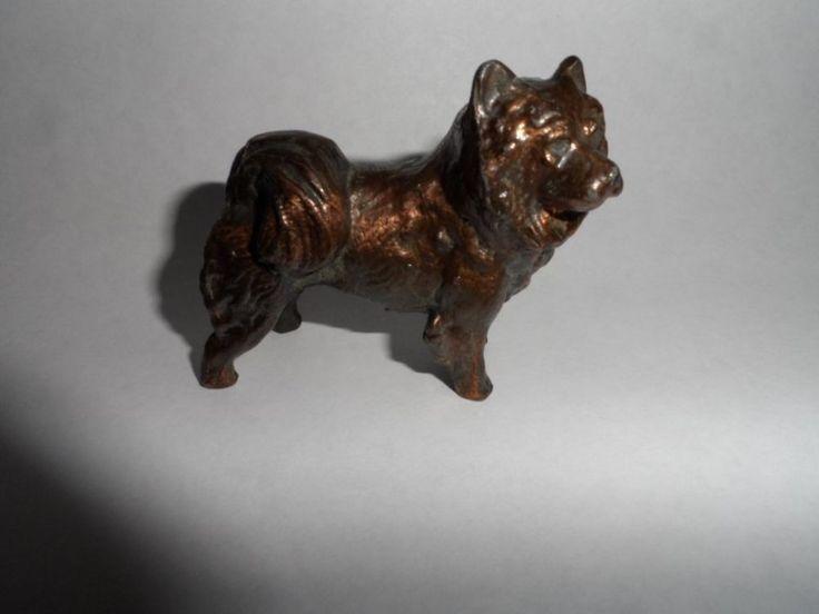 VINTAGE CHOW-CHOW Cast Copper Clad DOG Figurine Oklahoma City 2.5