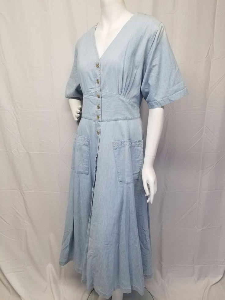 Vtg 90s VENEZIA JEANS Plus Size 14/16 Button Front Lt Blue Maxi Dress Womens XL #VeneziaJeans #EmpireWaist #Everyday
