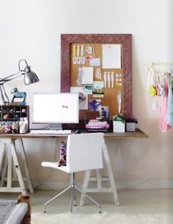 office/studio: Studios Spaces, Diy Desk, Crafts Rooms, Offices Spaces, Bulletin Boards, Work Spaces, Corks Boards, Workspaces, Home Offices