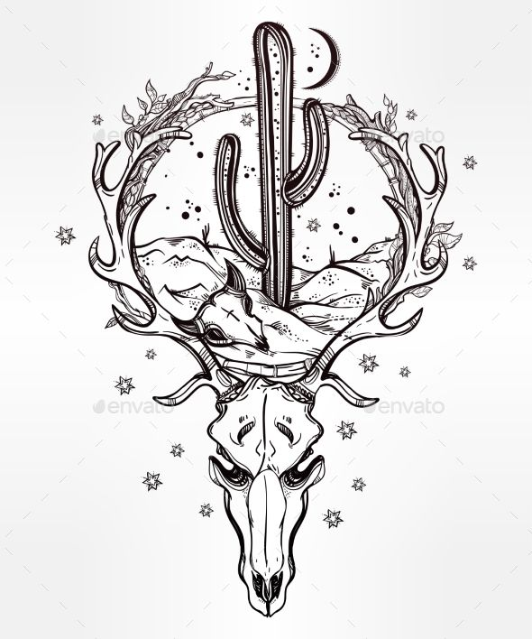 Desert Landscape In Deer Skull With Cactus, Moon . - Nature Conceptual