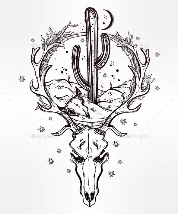 Desert Landscape In Deer Skull With Cactus, Moon . - Nature Conceptual