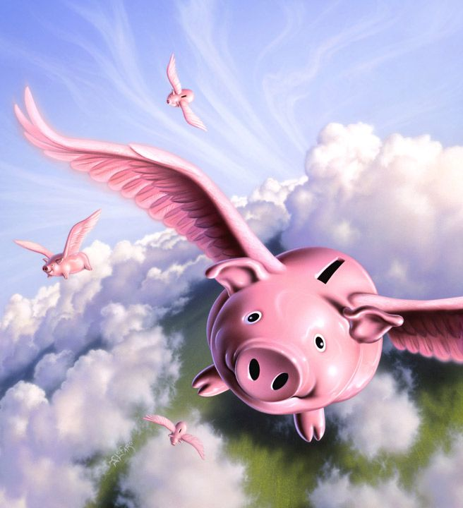Image result for pigs flying piggy bank