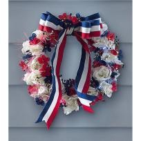 Beautiful Red, White and Blue Patriotic Wreath for your 4th of July! Photons!Optical Wreaths, Patriots Americana, Red White Blue, Patriots Wreaths, 4Th Of July, July 4Th, Americana Fiber, Blue Fiber, Fiber Optical