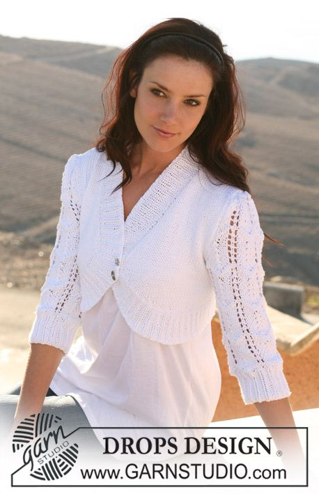 "DROPS bolero in ""Paris"" with puff sleeves in lace pattern. Size S – XXXL"