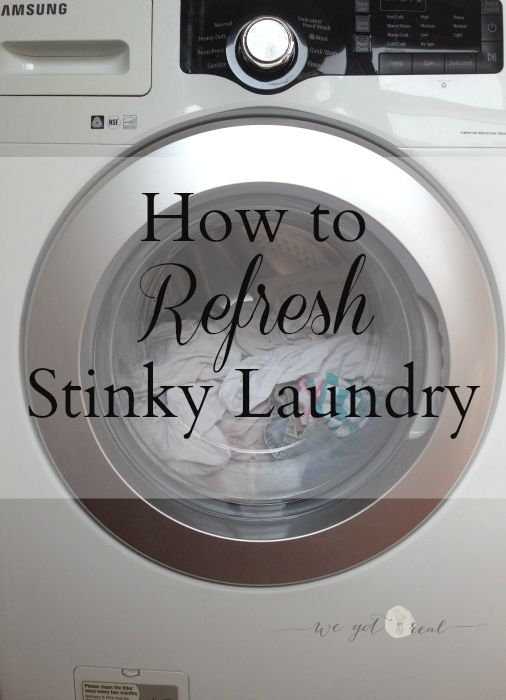 How to Refresh Stinky Laundry.  I know I'm not the only one that has to re-wash clothes that have been forgotten in the washer. - We Got Real