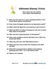 100 Walt Disney World ultimate trivia questions