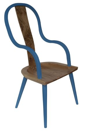 This is a dining chair, made of wood. The chair in a modern shape because of a curved back and arm, and central splat. The chair suite perfectly modern dinning rooms or kitchens.