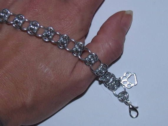 Chainmaille Paw Print Charm Bracelet or Anklet