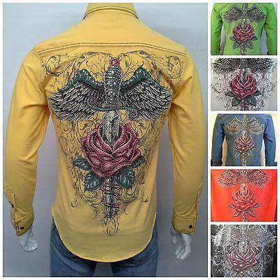 Men's Stretch Cotton Slim Fit Shirts Print w/ Rhinestones Long Sleeve